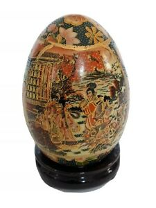 Vintage Satsuma Japanese Hand Painted Moriage Egg On Stand Floral Gold Gilt