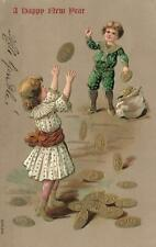 1900's VINTAGE EMBOSSED BOY & GIRL THROWING GOLD COINS to each other POSTCARD