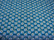 3 Yards Quilt Cotton Fabric- ITB Julie Paschkis Bohemia White Blue Flowers Green