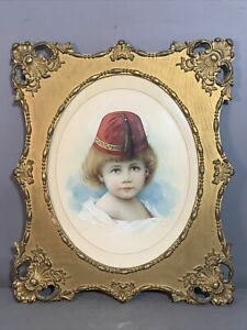 1895 Antique VICTORIAN CHILD in RED FEZ HAT Old WATERCOLOR PORTRAIT PAINTING