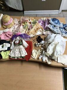 "lot of 10"" doll clothing dresses hats shoes stockings pantaloons"