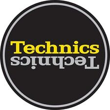 Technics 60659 PAIR Slipmat Duplex 4 Mirror Silver /Yellow on Black /Brand New