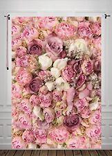 5X7ft Rose Floral Wall Newborns Portraits Photography Backdrop Art Fabric studio