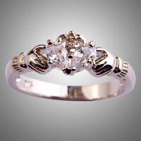 Precious Claddagh White Sapphire Gemstone Silver Jewelry Ring Size L N P R T V Y