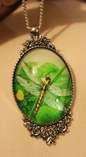 Lovely Floral Rim Silvertone Green & Yellow Dragonfly in Flight Cameo Necklace