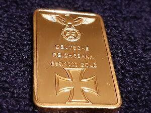 1 Troy Oz 24k Gold Clad Germany Bar Iron Cross WW2 WWII w/ Airtight case