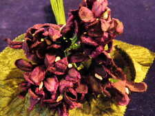 Millinery Flower Velvet Violet Bouquet Wine Lot Hat Wedding and Hair Y4