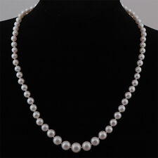 Graduated Real Freshwater 5-10mm AA White Pearl Necklace & Sterling Silver Clasp