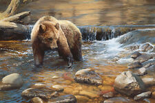 """""""Fish Tales"""" Bonnie Marris Western Grizzly Limited Edition Giclee Canvas"""