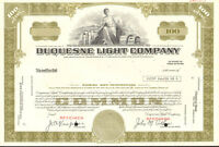 Duquesne Light Company > Pennsylvania utility company olive stock certificate