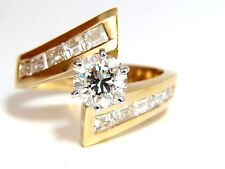 $16,000 GIA 2.06CT ROUND DIAMOND CROSSOVER RING BAGUETTES 14KT VVS