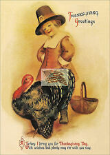 older postcard THANKSGIVING GREETINGS pilgram turkey basket as a picture