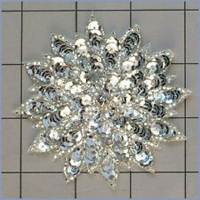 SILVER  SEQUIN BEADED FLOWER APPLIQUE  2407-A