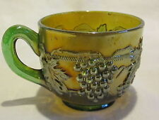 Carnival Glass Northwood Grape & Cable Green Cup
