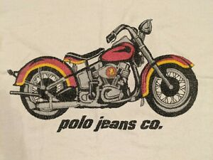 "Ralph Lauren Polo Jeans Motorcycle Beach Towel, 34""x69"", Vintage, White"