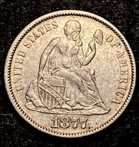 1877 S Seated Liberty Silver Dime 10c F-101 Top-100 Variety High Grade XF-AU