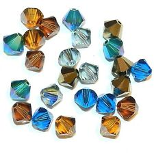 SCB5522 Lakeshore Assortment Blue Brown 6mm Bicone Swarovski Crystal Beads 24pc