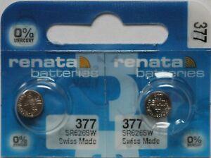 12 x Renata 377 V377 SR626SW SR66 AG4 24mAh 1,55V Knopfzelle Uhrenbatterie