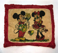 Vtg 40-50's? GUND Stuffed Mickey Minnie Mouse IN LOVE Couple Red Velvet Pillow