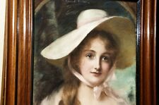 Antique pastel on canvas John Ernest Breun British 1890 Lady in bonnet. Signed