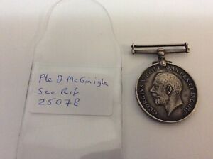 WW1 Casualty British War Medal Scottish Rifles Pte McGinigle
