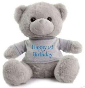 Happy Birthday Grey Teddy bears Personalised Super Soft Cuddly celebrate xmas