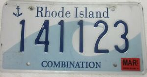 RHODE ISLAND licence/number plate US/United States/USA/American 141 123