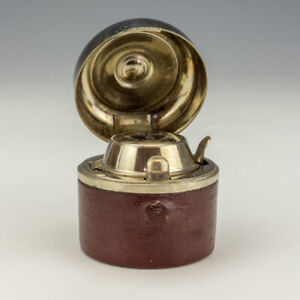 Antique Burgundy Leather Covered - Miniature Travel Inkwell Ink Bottle
