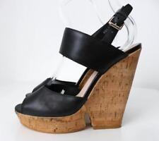 RMK Black Leather and Cork High Heel Sandals Size 38