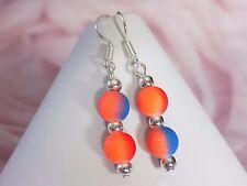 8mm Fluo Neon Blue Red Orange Rubber Beads Silver Plated Hook Dangle Earrings