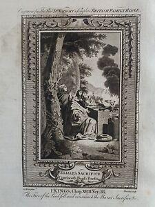 1770 Elijah's Sacrifice & The Priests Of Baal Biblical Antique Copperplate Print