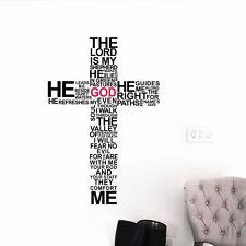 God Wall Vinyl Sticker Decal Cross Jesus Christ Psalm Pray Bible Bedroom Mural