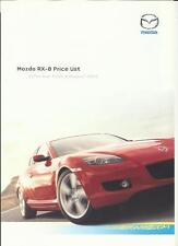 MAZDA RX-8 PRICE LIST SALES 'BROCHURE'/SHEET  AUGUST 2003