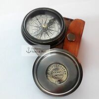 Nautical Antique brass poem pocket compass with leather case marine gift item