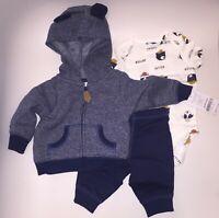 New Carter's 3-Piece Baby Infant Dog Jacket Bodysuit Pants Set Blue New Born