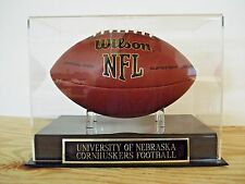 Football Display Case With A Nebraska Cornhuskers Engraved Nameplate