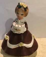 Vintage Shafford 2151 Birthday Girl Collectible Figurine Brown Dress cake candle