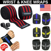 Weight Lifting Wrist Wraps Knee Support Fitness Gym Strength Training Straps