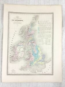 1846 Antique Map of The British Isles Geological Physical Hand Coloured Engraved