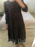 ZARA NEW PRINTED DRESS LONG MIDI FLOWING BLACK RED FLORAL POLKA DOT SIZE XS-XXL