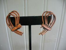 Vintage Renoir Clip-On Copper Wire Filagree Earrings