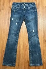 Almost Famous Women Skinny Sz 3 Low Rise Jeans Distressed Bootcut