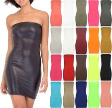 New Womens Boob Tube Stretch Sleeveless Top Ladies Mini Bodycon Pencil Dress