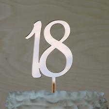 18 Cake topper. 18th Eighteen Birthday Cake Decor in ROSE GOLD  Mirror Acrylic.