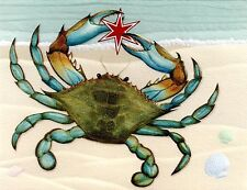 10 Embossed Boxed Christmas Cards Blue Crab  Beach Tropical