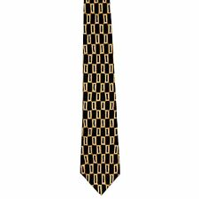 "Perry Ellis Portfolio 100% Silk Geometric Neck Tie Charcoal 3 7/8"" x 56 1/2"""