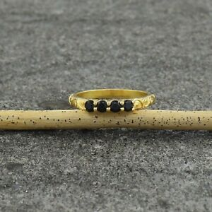 Natural Black Spinel 18K Gold Plated 925 Silver Propose Wedding Ring US 4 to 15