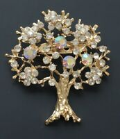 Vintage  style tree Brooch gold  Tone Metal