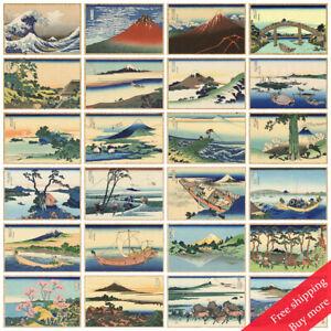 "Vintage Poster Great Wave Off Kanagawa Fuji View Japanese Ukiyoe Decor A4 12""x8"""