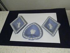 3 Wedgwood Blue Jasperware Dishes Excellent Take A Look